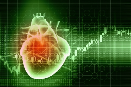 20149754 - virtual image of human heart with cardiogram