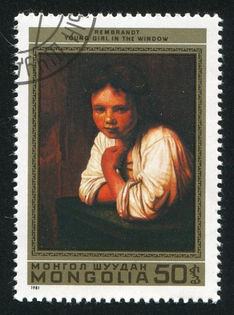12789782 - mongolia - circa 1981: stamp printed by mongolia, shows young girl in the window, by rembrandt, circa 1981
