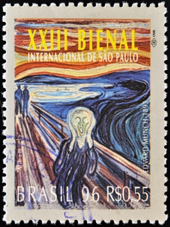 14277647 - brazil-circa 1996 a stamp printed in brazil shows the 23 international biennial of sao paulo, the scream by edvard munch work,circa 1996