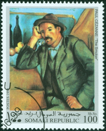 15623989 - somalia-circa 1999 a post stamp printed in somalia shows painting the smoker by paul cezanne , circa 1999