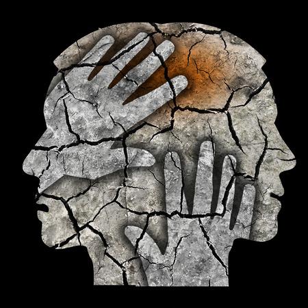 59845059 - schizophrenia male head silhouette. man holding his head.